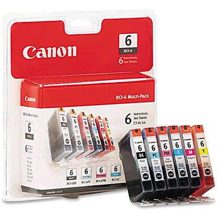 Canon BCI-6 Black/Color Ink Cartridges (4705A018), Pack Of 6