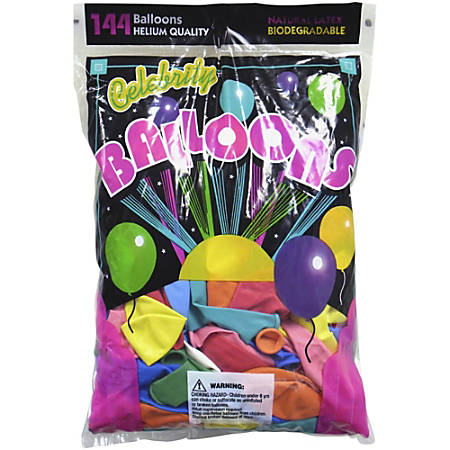 "Tablemate Assorted Latex Balloons, 12"", Assorted, Pack of 144"
