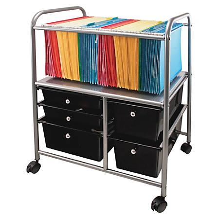 """Advantus 5-Drawer Mobile Storage File Cart, 15 3/8""""H x 21 5/8""""W x 28 3/8""""D, Silver/Black"""
