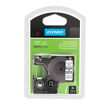 """DYMO® D1 43613 Black-On-White Tape, 0.25"""" x 23'"""