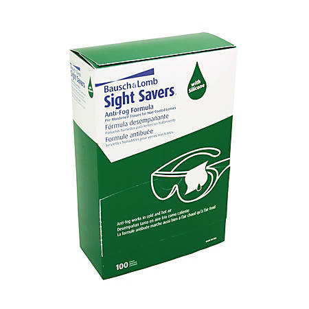 "Bausch & Lomb Sight Savers Pre-Moistened Anti-Fog Tissues, 5 5/16"" x 2 5/16"", Box Of 100"
