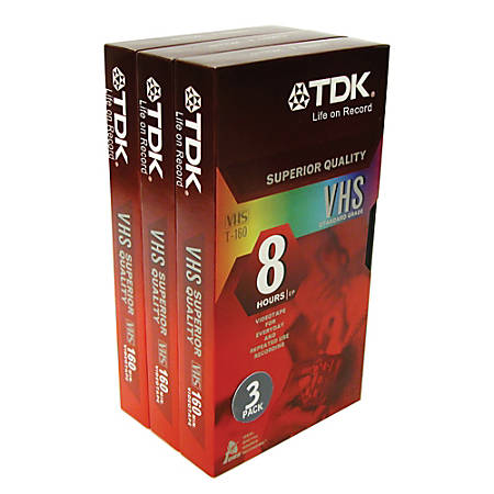 TDK T-160 High Standard VHS Tapes, Pack Of 3