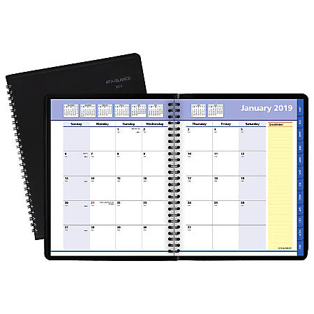 "AT-A-GLANCE® QuickNotes® Monthly Planner, 6 7/8"" x 8 3/4"", Black, January to December 2019"