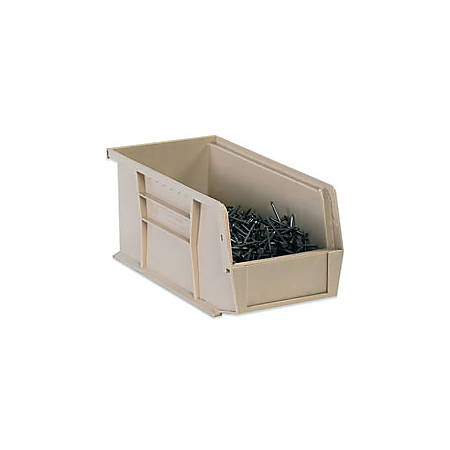"""B O X Packaging Plastic Stackable Bin Boxes, 7 3/8"""" x 4 1/8"""" x 3"""", Ivory, Case Of 24"""