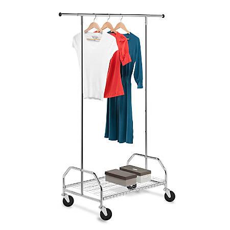 "Honey-Can-Do Heavy-Duty Bottom-Shelf Garment Rack, 66 3/4""H x 21""W x 59 5/16""D, Chrome"