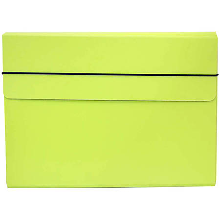 "JAM Paper® Strong Kraft Portfolio With Elastic Closure, 9 1/4"" x 12 1/2"", Lime Green"