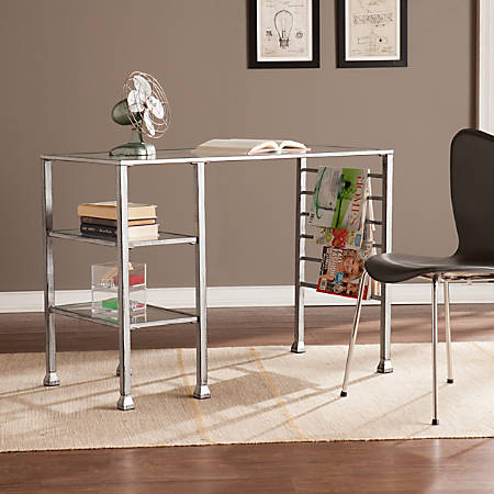 Southern Enterprises Metal/Glass Writing Desk, Distressed Silver