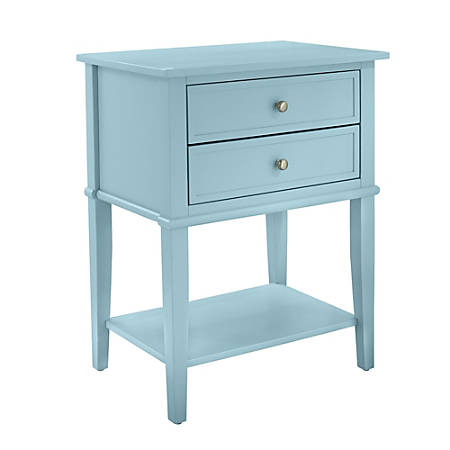 """Ameriwood™ Home Franklin Accent Table With 2 Drawers, Square, 28""""H x 22""""W x 16""""D, Blue"""