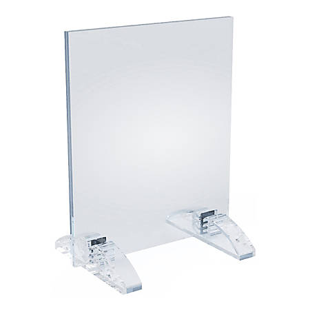 "Azar Displays Dual-Stand Vertical/Horizontal Acrylic Sign Holders, 7""H x 5""W x 3-1/2""D, Clear, Pack Of 10 Holders"
