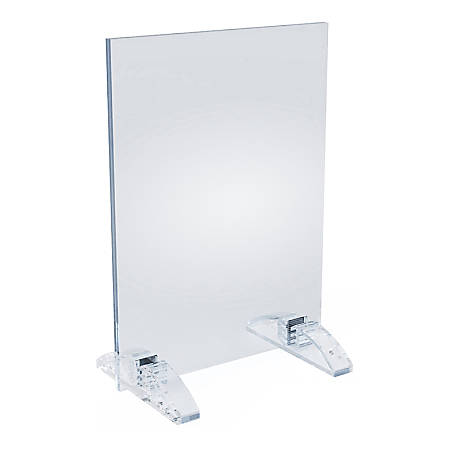 """Azar Displays Dual-Stand Acrylic Sign Holders, 8-1/2""""H x 5-1/2""""W x 3""""D, Clear, Pack Of 10 Holders"""