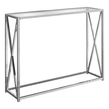 Monarch Specialties Hall Console Accent Table With Tempered Glass, Rectangular, Chrome