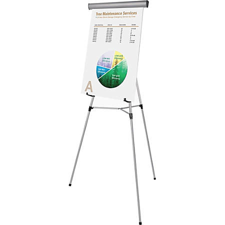 """MasterVision Heavy Duty Display Easel - 45 lb Load Capacity - 69"""" Height x 28.5"""" Width x 34"""" Depth - Metal, Aluminum, Plastic, Rubber - Silver"""