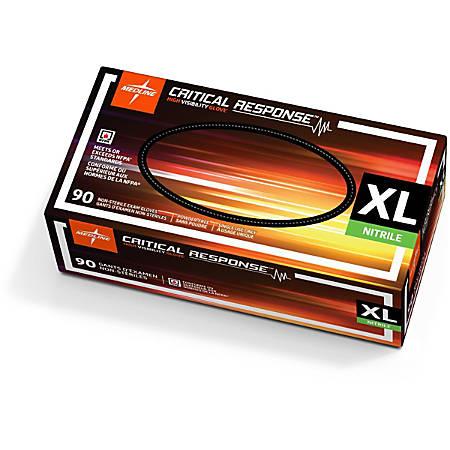 Medline Critical Response Disposable Nitrile Exam Gloves, X-Large, Orange, Pack Of 900