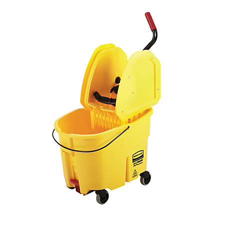 """Rubbermaid® WaveBrake Plastic Commercial Bucket With Wringer, 35 Qt, 33 3/4""""H x 16""""W x 27 1/4""""D, Yellow"""