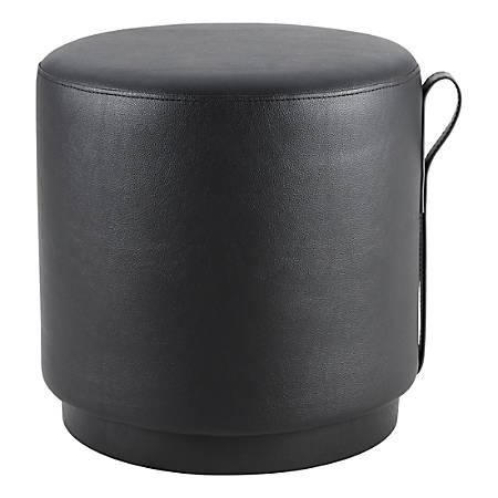 Lorell® Contemporary Round Ottoman, Black