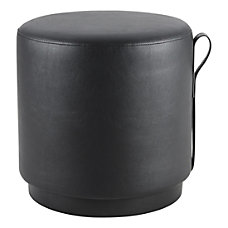 Lorell Contemporary Round Ottoman Black