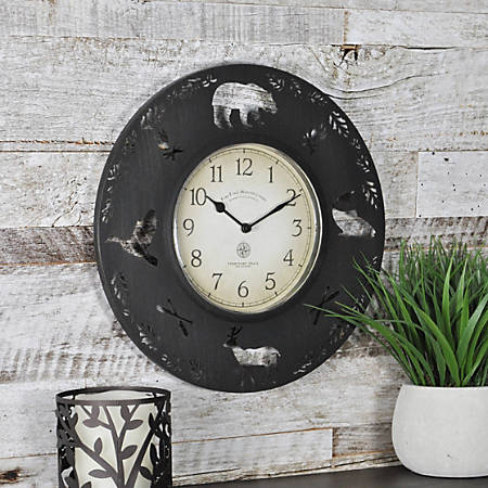 """FirsTime® Lodge Round Wall Clock, 11"""", Aged Brown"""