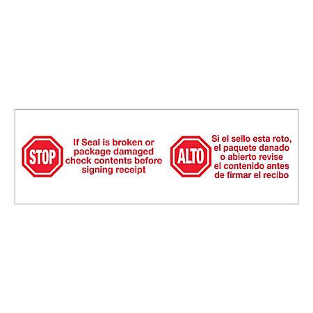 "Tape Logic Pre-Printed Carton Sealing Tape, ""Stop/Alto"", 3"" x 110 Yd., Red/White, Case Of 6 Rolls"