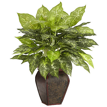 """Nearly Natural 23""""H Silk Dieffenbachia Plant With Decorative Vase"""