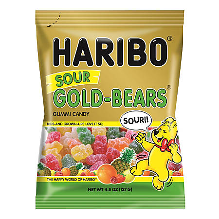 Haribo Gold Sour Gummi Bears, 4.5 Oz
