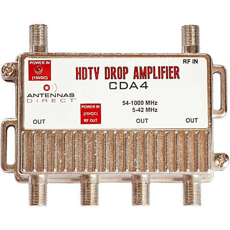 Antennas Direct 4 Way TV / CATV Distribution Amplifier - 4-way - 1 GHz - 54 MHz to 1 GHz