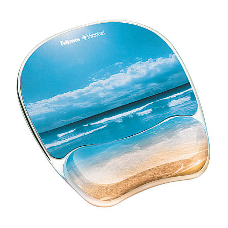 Fellowes® Gel Mouse Pad With Wrist Rest, Sandy Beach