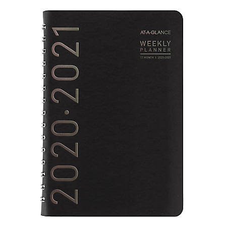 "AT-A-GLANCE® Contempo Academic Weekly/Monthly Planner, 5"" x 8"", Black, July 2020 To June 2021, 70101X05"