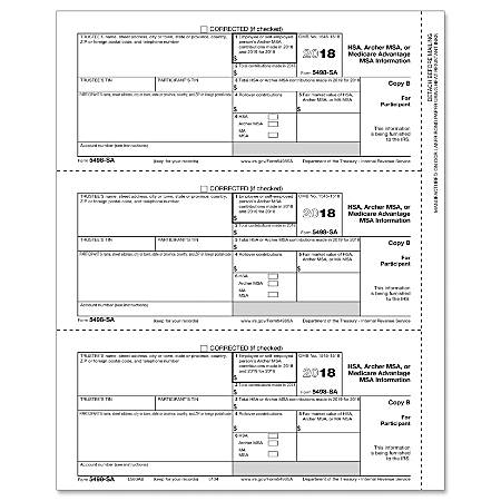"ComplyRight™ 5498 Inkjet/Laser Tax Forms, Participant Copy B (HSA/MSA Information), 8 1/2"" x 11"", Pack Of 50 Forms"