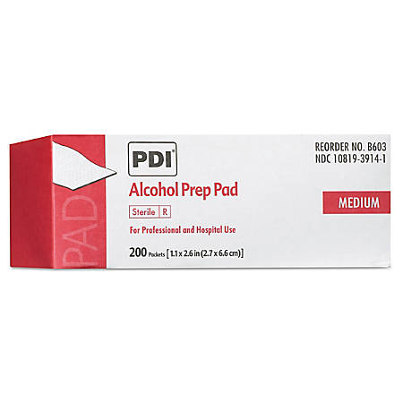 "Sani Professional PDI Alcohol Prep Pads, 2-1/2"" x 4"", White, Box Of 200 Pads"