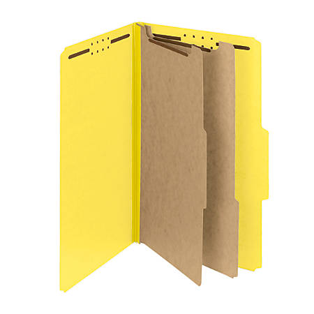 Smead® Pressboard Classification Folders With SafeSHIELD® Fasteners, 2 Dividers, Legal Size, 60% Recycled, Yellow, Box Of 10
