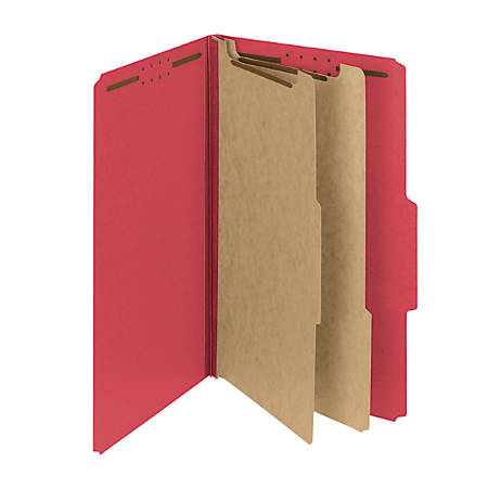 Smead® Pressboard Classification Folders With SafeSHIELD® Fasteners, 2 Dividers, Legal Size, 60% Recycled, Bright Red, Box Of 10
