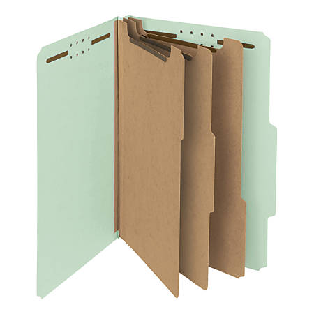 Smead® Pressboard Classification Folders, 3 Dividers, Legal Size, 100% Recycled, Gray/Green, Box Of 10