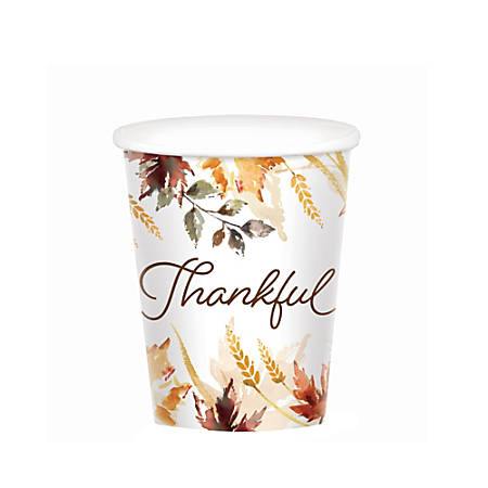 Amscan Classic Thanksgiving Paper Cups, 9 Oz, 50 Per Pack, Case Of 2 Packs