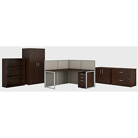 "Bush Business Furniture Easy Office L Shaped Cubicle Desk with Storage and Filing Cabinets, 60""W, Mocha Cherry, Premium Installation"