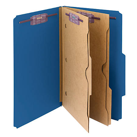 Smead® Pressboard Classification Folders With Pocket-Style Divider And SafeSHIELD® Fastener, Legal Size, 50% Recycled, Dark Blue, Box of 10