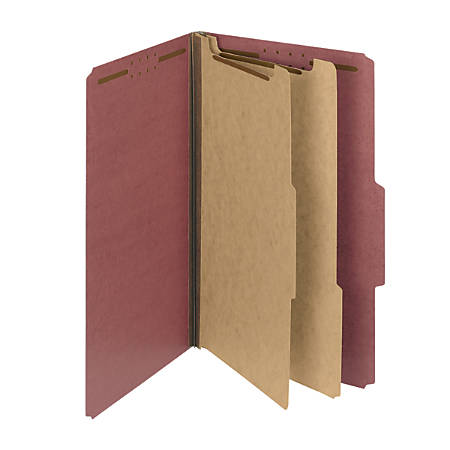 Smead® Pressboard Classification Folders, 2 Dividers, Legal Size, 100% Recycled, Red, Box Of 10