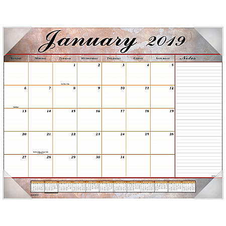 """AT-A-GLANCE® Marbled Monthly Desk Pad, 21 3/4"""" x 17"""", January to December 2019."""