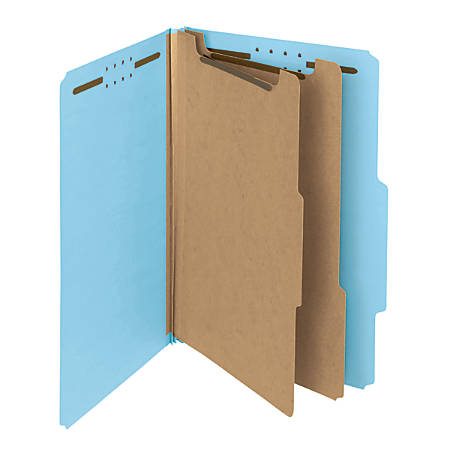 Smead® Pressboard Classification Folders, 2 Dividers, Legal Size, 100% Recycled, Blue, Box Of 10