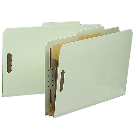Smead® Pressboard Classification Folders, 1 Divider, Legal Size, 100% Recycled, Gray/Green, Box Of 10