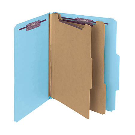 Smead® Pressboard Classification Folders With SafeSHIELD® Fasteners, 2 Dividers, Letter Size, 60% Recycled, Blue, Box Of 10