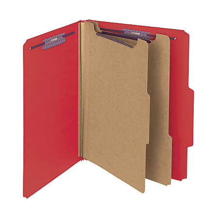 Smead® Pressboard Classification Folders With SafeSHIELD® Fasteners, 2 Dividers, Letter Size, 60% Recycled, Bright Red, Box Of 10