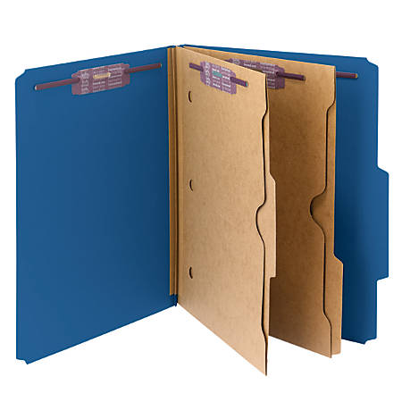 Smead® Pressboard Classification Folders With Pocket-Style Divider And SafeSHIELD® Fastener, Letter Size, 50% Recycled, Dark Blue, Box of 10
