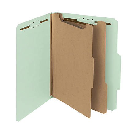 Smead® Pressboard Classification Folders, 2 Dividers, Letter Size, 100% Recycled, Gray/Green, Box Of 10
