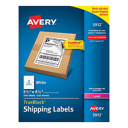 "Avery® Permanent Shipping Labels With TrueBlock® Technology, 5912, 5 1/2"" x 8 1/2"", White, Box Of 500"