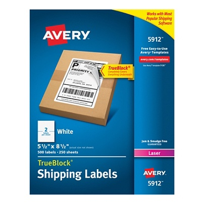 Avery Permanent Shipping Labels With TrueBlock Technology - Office max label templates