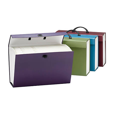 Smead® 19-Pocket Expanding File Box With Handle, Alphabetic (A-Z), Assorted (No Color Choice)