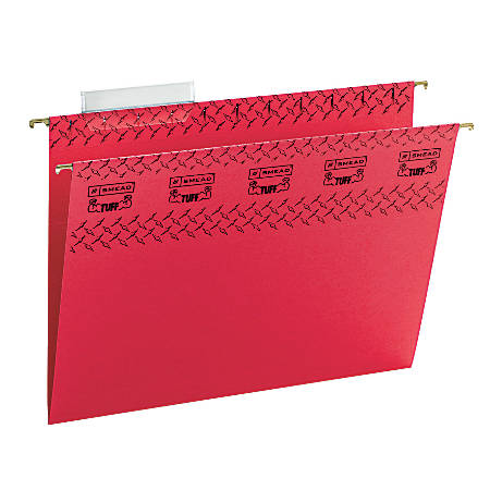 Smead® TUFF® Hanging File Folders With Easy Slide™ Tabs, Letter Size, Red, Box Of 18