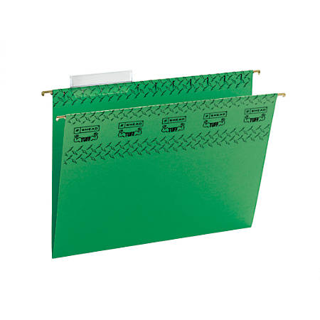 Smead® TUFF® Hanging File Folders With Easy Slide™ Tabs, Letter Size, Green, Box Of 18