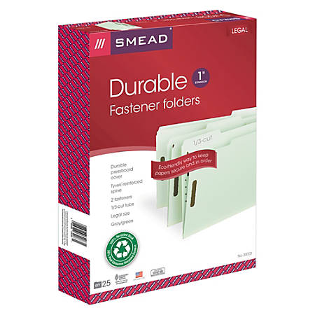 "Smead® Pressboard Fastener Folders, 1"" Expansion, Legal Size, 100% Recycled, Gray/Green, Pack Of 25"