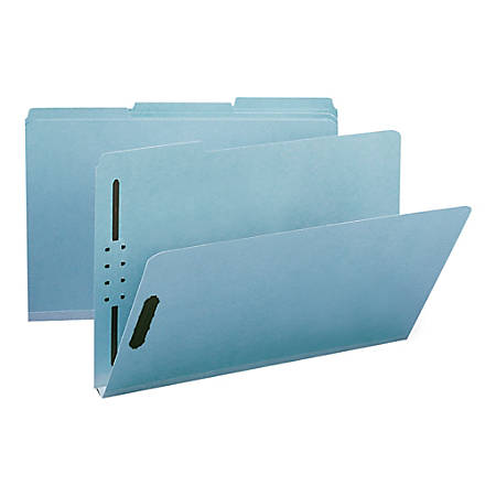 "Smead® Pressboard Fastener Folders, 1"" Expansion, Legal Size, 100% Recycled, Blue, Pack Of 25"